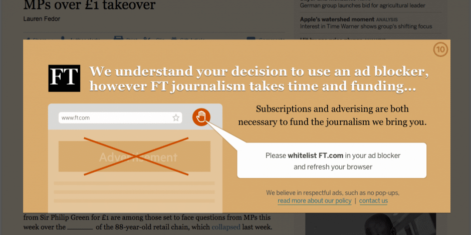 Financial Times Ad Blocker Message