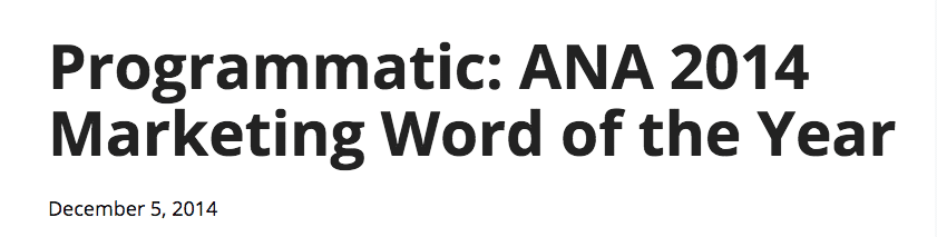 Programmatic Word of the Year
