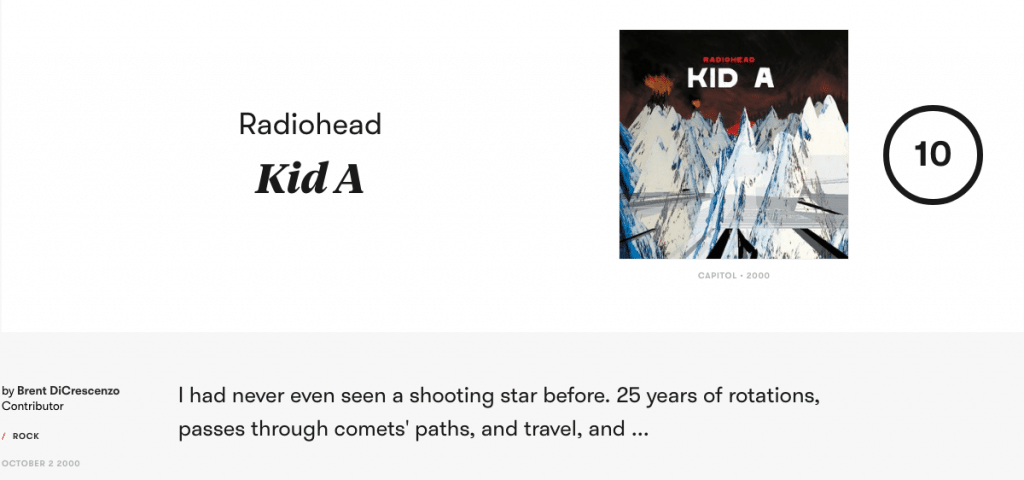 Radiohead Kid A Review by Pitchfork