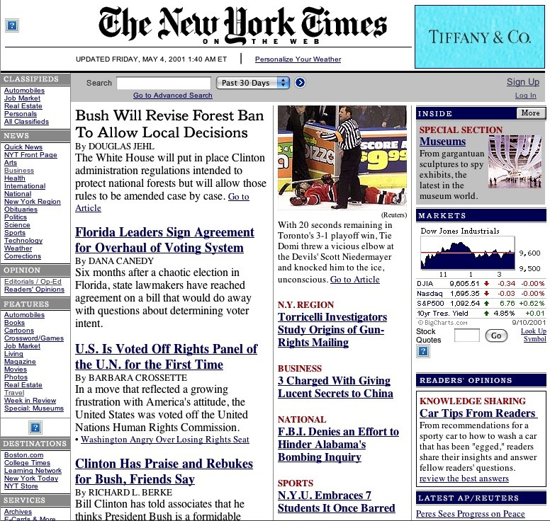 NYTimes Redesign 2001