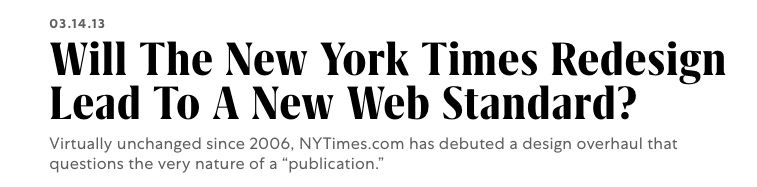 NYTimes Redesign Debuts - Fast Company