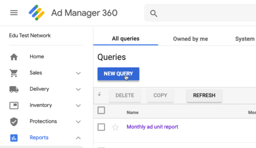 Create A New Query in Google Ad Manager
