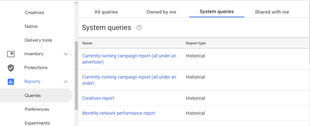System-defined DFP Reports