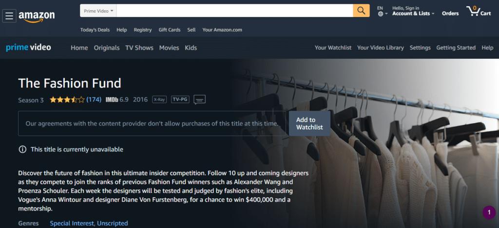 Vogue Fashion Fund on Amazon Prime