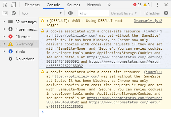 Check SameSite cookies in Chrome