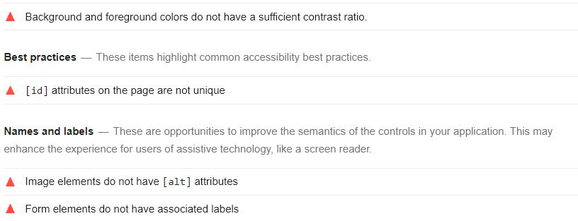 Google Lighthouse Accessibility Report- Automatad