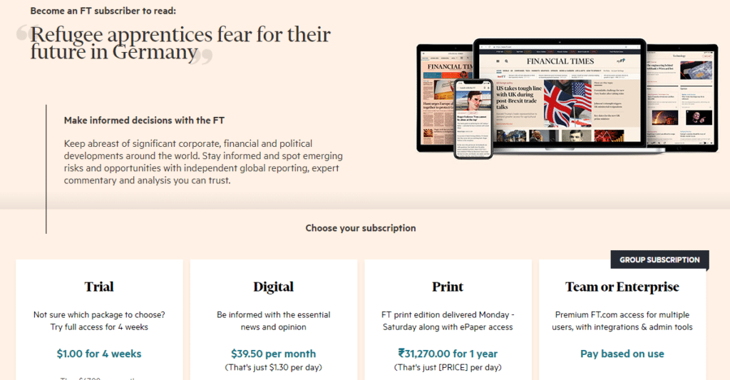 Hard paywall on Financial Times