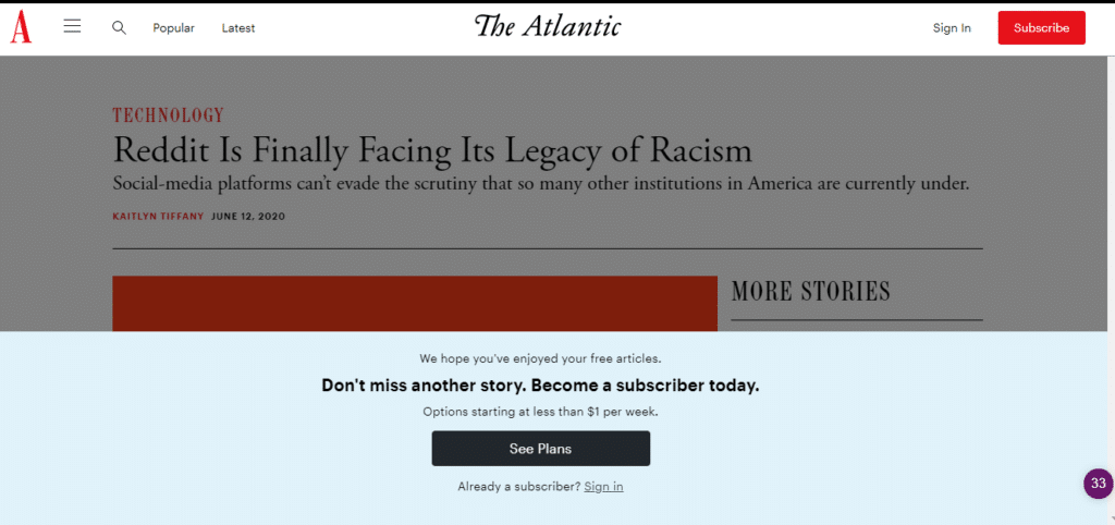 Metered paywall on The Atlantic