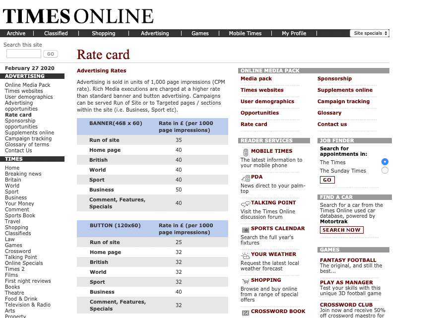 The Times - Rate Card