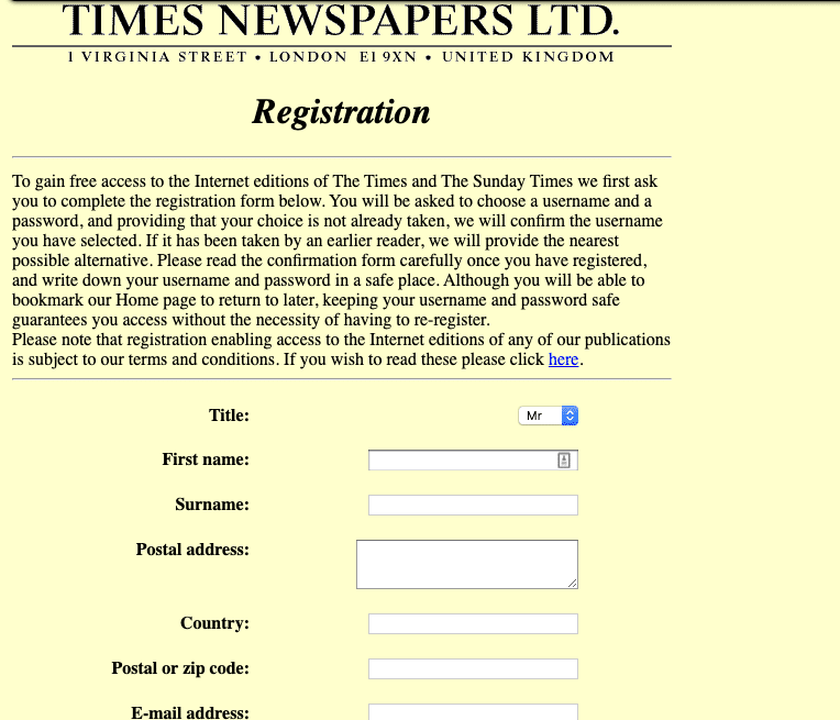 The Times Registration