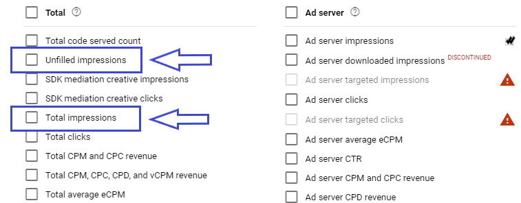 total impressions filled and unfilled in google ad manager