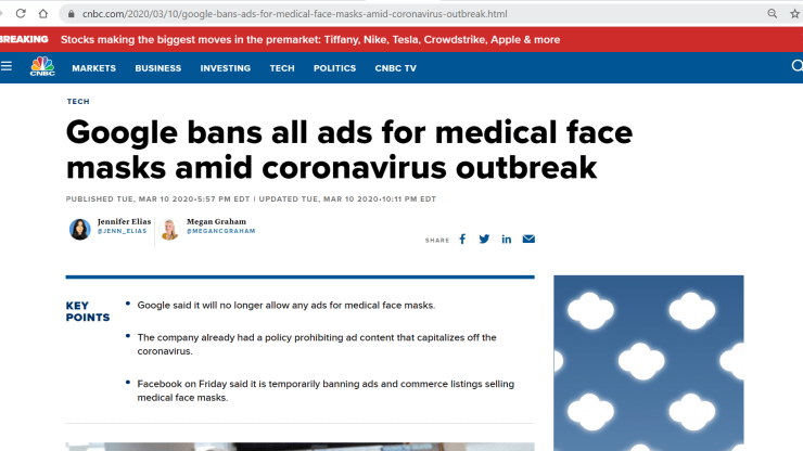An ad blocked on CNBC due to covid-19 article