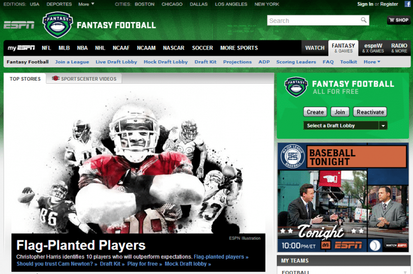House Ad Example on ESPN Website