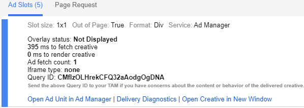 check ad slots in google publisher console