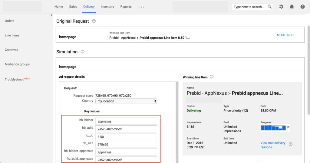 delivery diagnostics in ad server