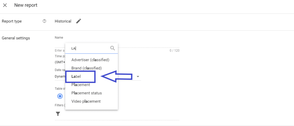 Add label in google ad manager report