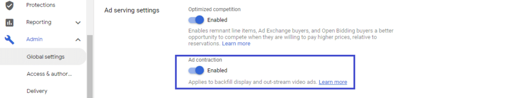 enable ad contraction in google ad manager