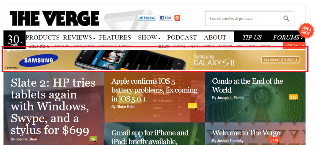 The Verge Display Ads