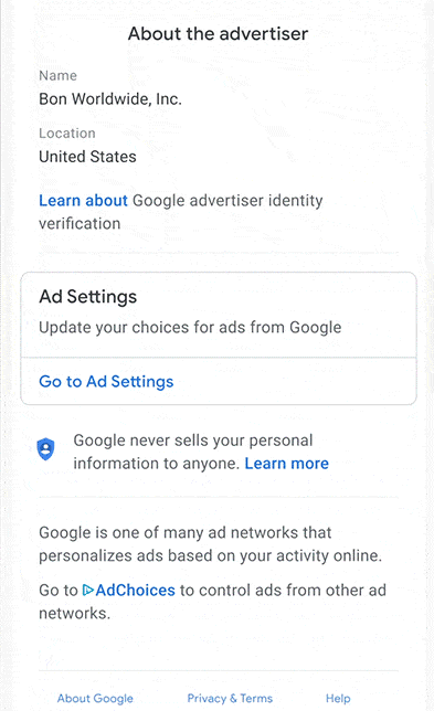 "Google ""About this ad"" feature"