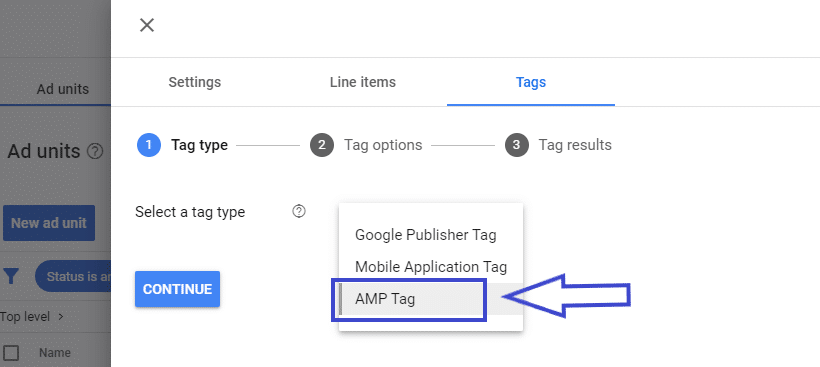 AMP tag type in GAM