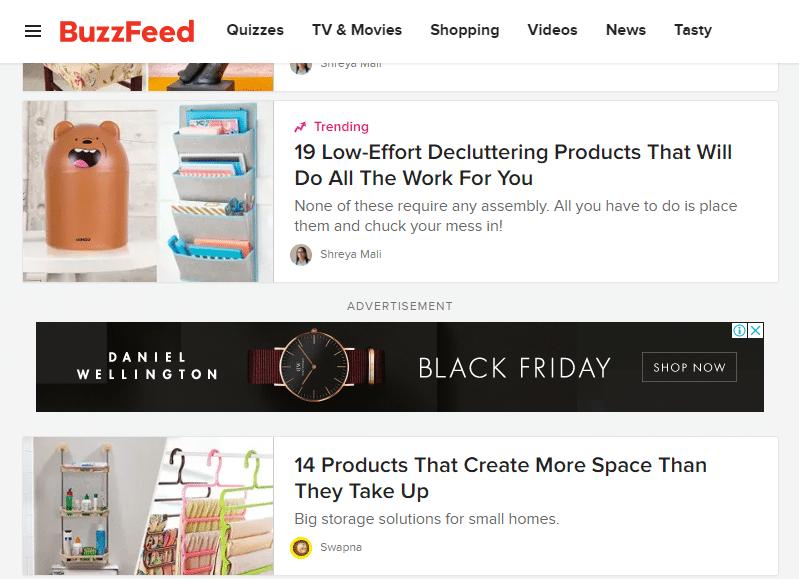 BuzzFeed Black Friday Native Ads