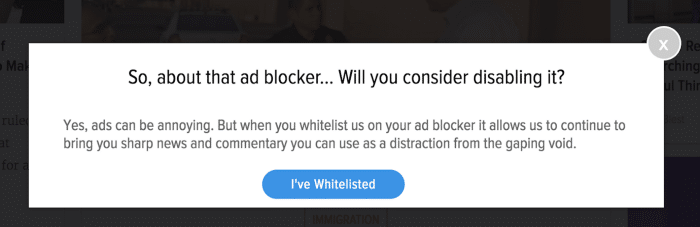 Whitelisted | Adblock recovery