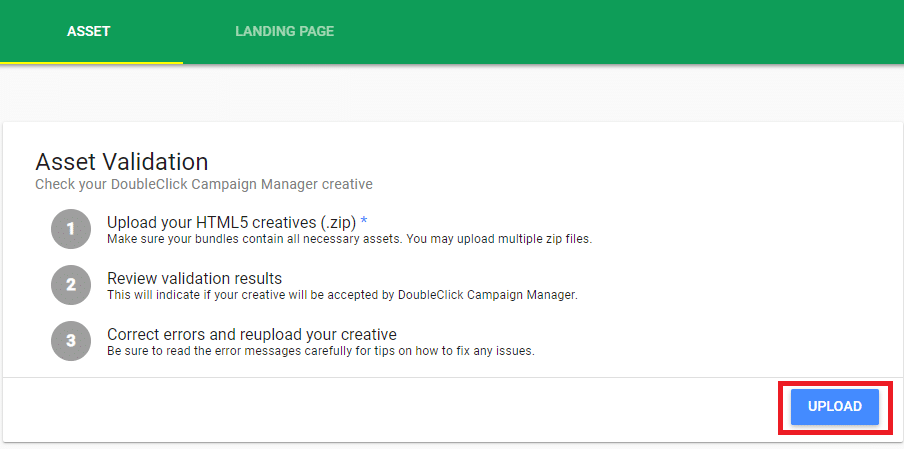 HTML5 Validator Upload Creative