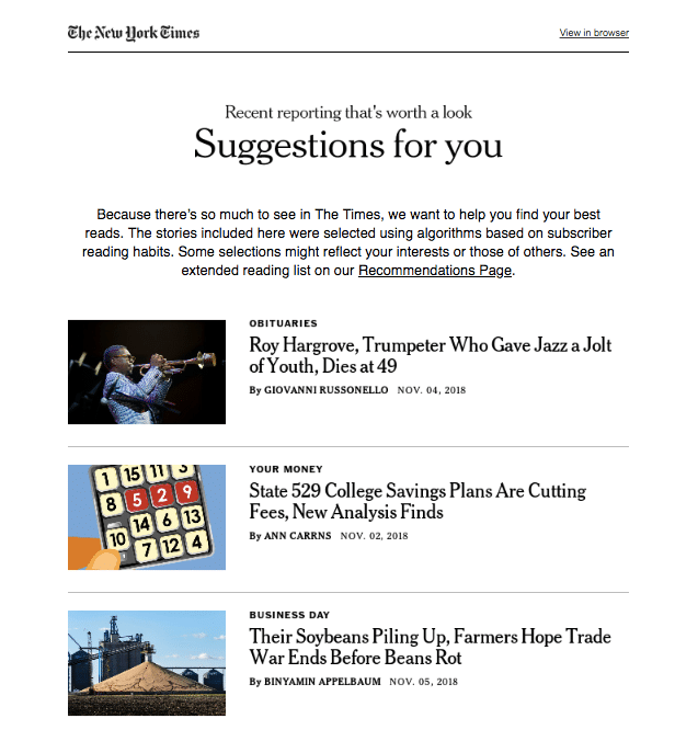 The New York Times Content Personalization strategy