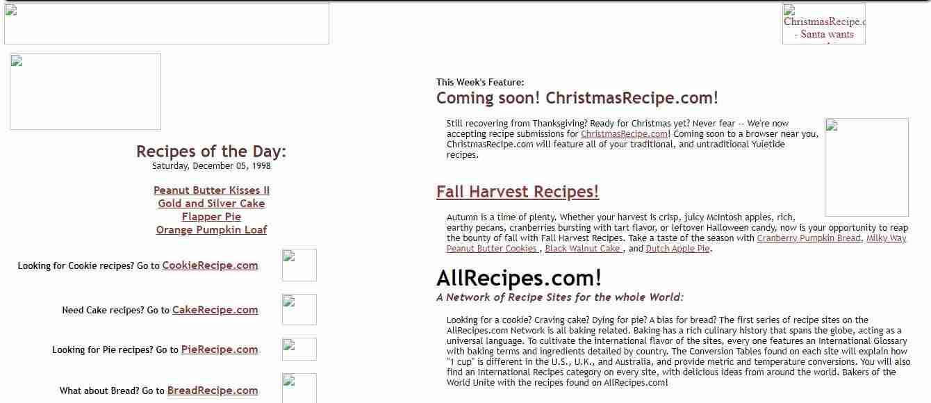 Allrecipes in 1998