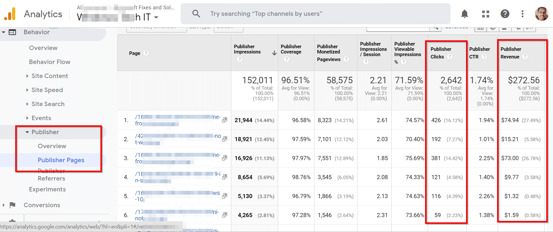 Publishers Report in Google Analytics